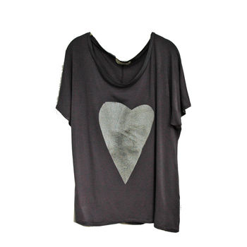Charcoal And Silver Heart Tee