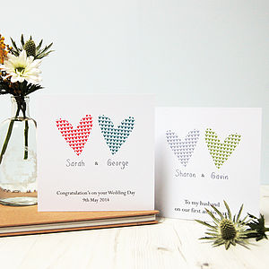 Two Hearts: Personalised Couple Card - wedding cards & wrap