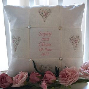 Silk And Linen Wedding Cushion - embroidered & beaded cushions