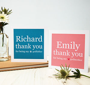 Personalised Godparent Thank You Card - christening cards