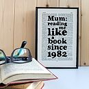 Mother's Day 'Like A Book' Personalised Print