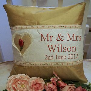 Gold Silk 'Mr And Mrs' Cushion - cushions