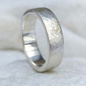 Chunky Hammered Silver Ring - rings