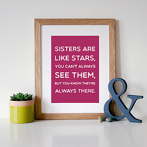 'Sisters Are Like Stars' Quote Print - gifts under £25 for her