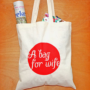 'A Bag For Wife' Printed Tote Cotton Bag - shoulder bags