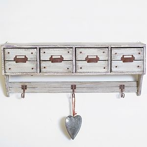 Distressed Four Drawer Shelf Hook Unit - shelves & racks