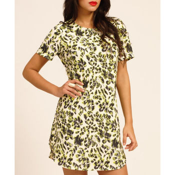 Short Sleeve Shift Dress In Black And Cream