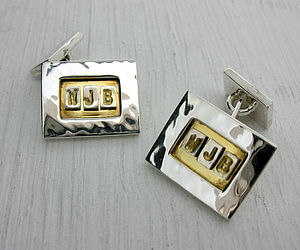 Silver And Gold Personalised Cufflinks - cufflinks