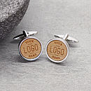 Wooden Personalised Logo Cufflinks