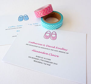 Baby Shoes Birth Announcement Card