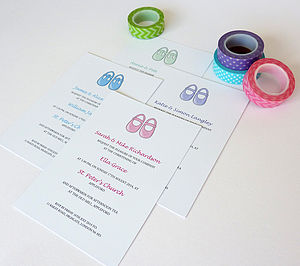 Baby Shoes Christening Invitation