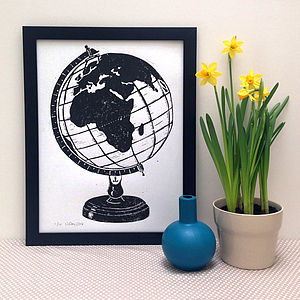 Globe Limited Edition Linocut Print