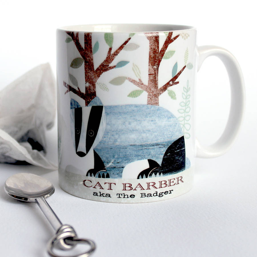 badger personalised mug by simon hart. Black Bedroom Furniture Sets. Home Design Ideas