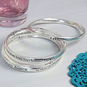 Set Of Four Meaningful Words Bangles - gifts for her