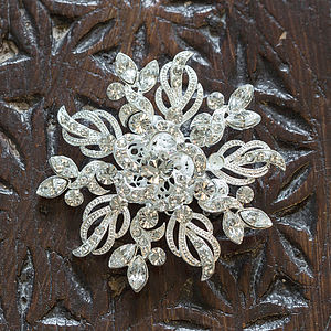 Lyra Silver Plated Crystal Brooch - more