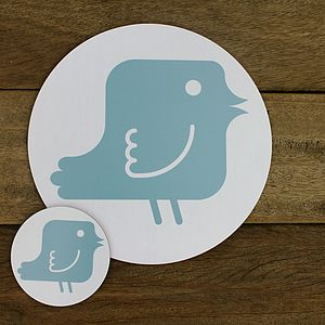 Blue Dove Placemat And Coaster Set