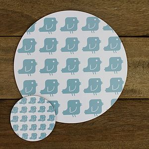 Blue Doves Placemat And Coaster Set