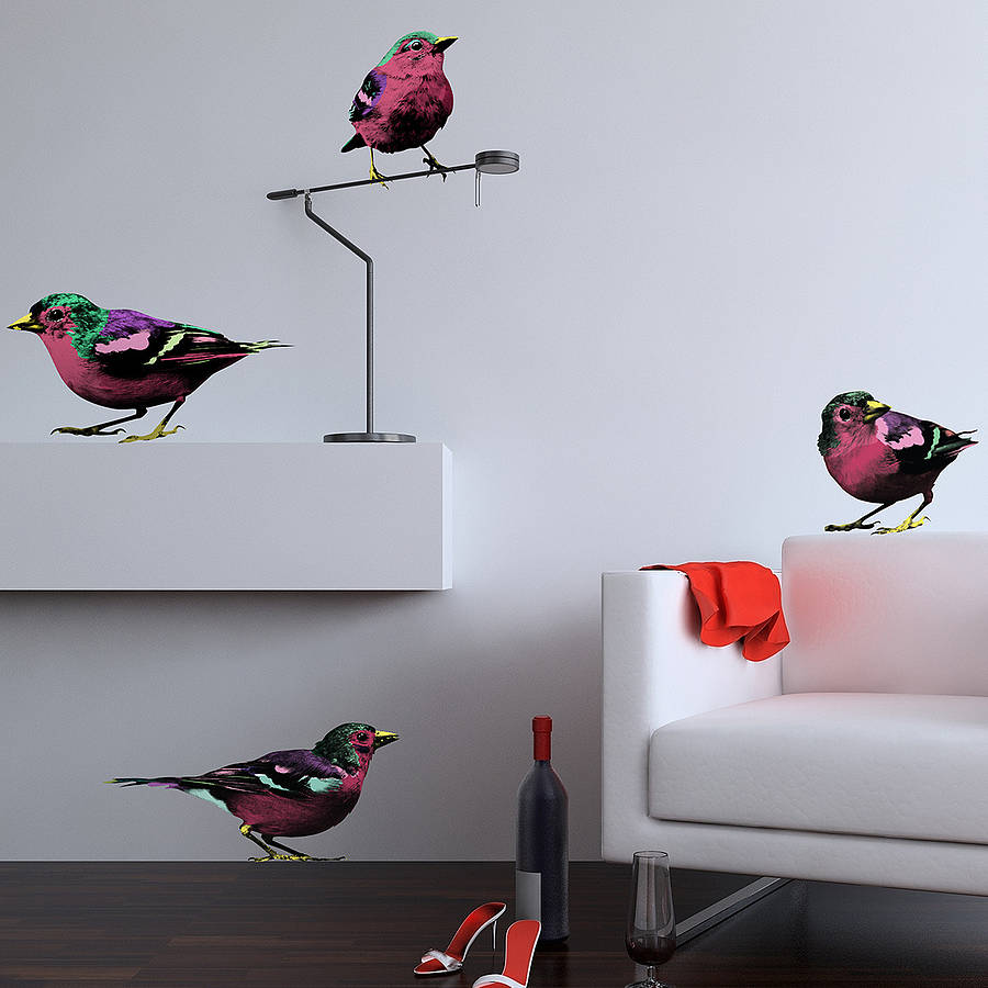 Wall Decor Pop Art : Pop art sparrows wall stickers by the binary box