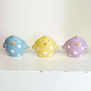 Three Spotty Polka Dot Chick Easter Egg Cups