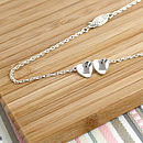 double heart silver chain