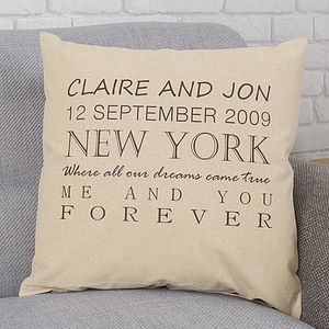 Personalised Forever Cushion - wedding gifts