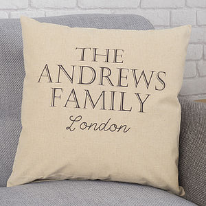 Personalised Family Linen Cushion - family inspired homeware