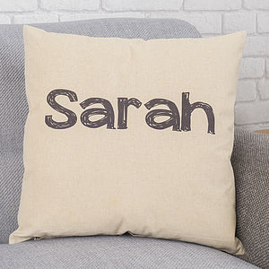 Personalised Handwriting Name Cushion - living room