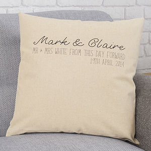 Personalised Mr And Mrs Linen Cushion - cushions