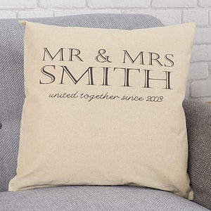 Personalised Mr And Mrs Anniversary Cushion - cushions