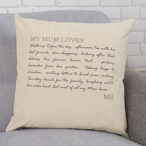 Personalised 'My Mum Loves' Cushion - best gifts for mums