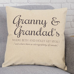 Personalised Grandparents Message Cushion - home