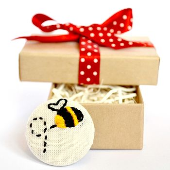 Hand Embroidered Bumblebee Brooch