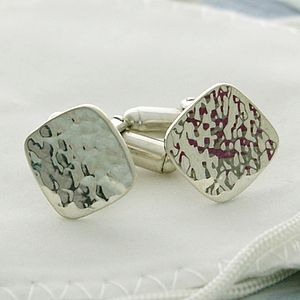 Wave Cushion Silver Cufflinks