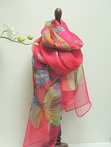 Colourful Butterfly Silk Scarf