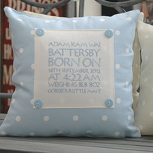 Personalised Birth Or Christening Cushion - baby's room