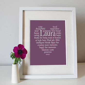 Maid Of Honour Personalised Thank You Print