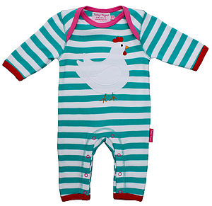 Organic Cotton Chicken Applique Sleepsuit - baby & child