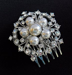 Floral Pearl And Diamante Hair Comb - wedding fashion