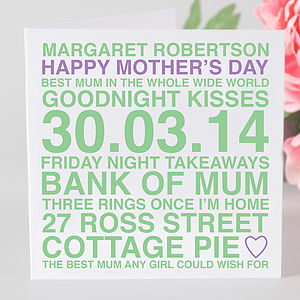 Personalised Mother's Day Card And Tag