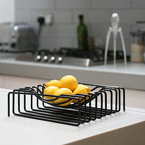 Wire Fruit Bowl, Black - fruit bowls