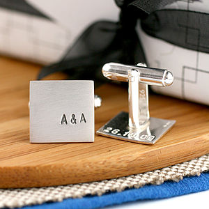 Personalised Silver Square Cufflinks - women's accessories