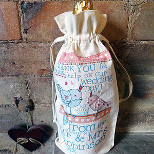 Set Of Five Personalised Bottle Bags - wedding favours