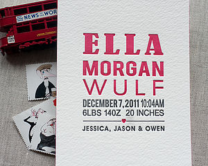 Justified Letterpress Birth Announcement