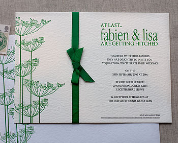 Cow Parsley Letterpress Wedding Invitation