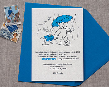 Puddle Letterpress Baptism Invitation