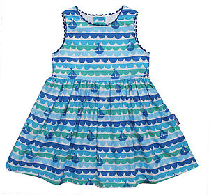 Boat Print Party Dress