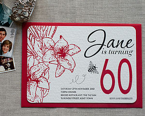 60th Birthday Letterpress Invitation