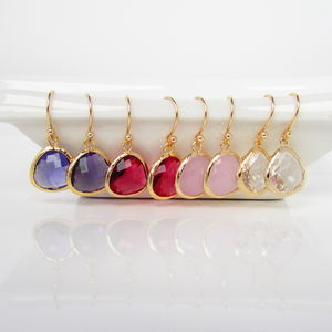 Gold Framed Stone Earrings