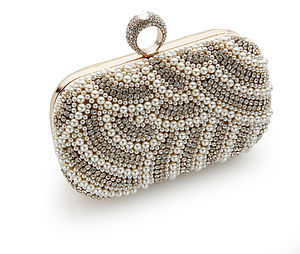 Eva Glitz Beaded Pearl Clutch Bag - best dressed guest