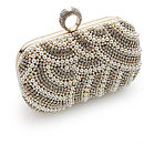 Eva Glitz Beaded Pearl Clutch Bag